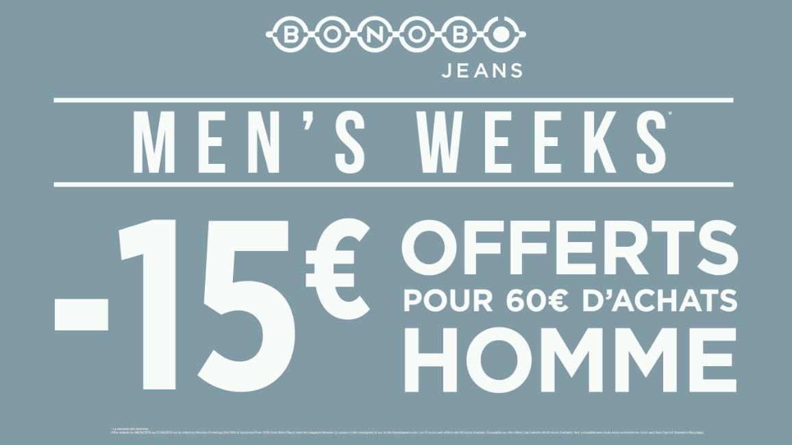 MEN'S WEEK du 8 au 21 juin chez BONOBO - Centre Leclerc Pau Tempo