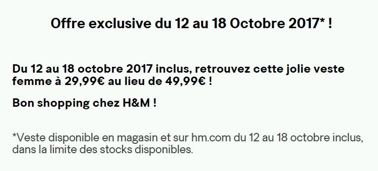 H&M OFFRE EXCLU TEXTE